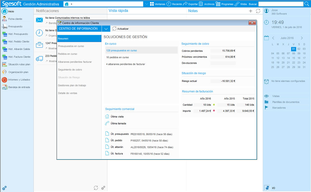 Centros de información: resumen situación clientes, artículos, etc.
